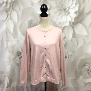 Boden Pink Button Down Long Sleeve Cardigan L NWT